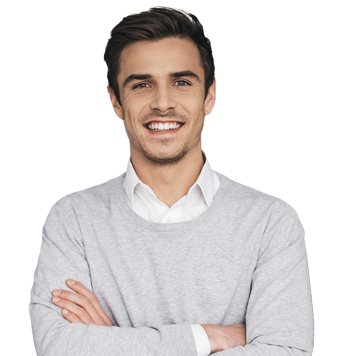 Man with healthy smile after visiting dentist in Keller Texas