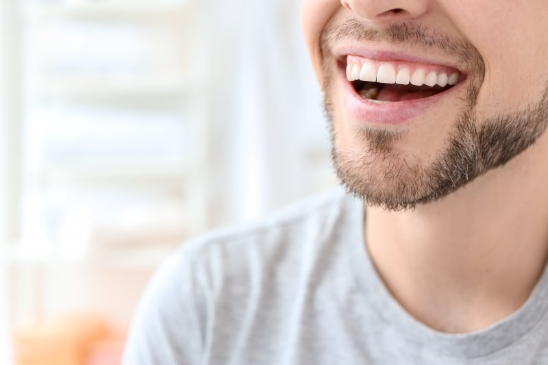 Closeup of man smiling with straight, white teeth
